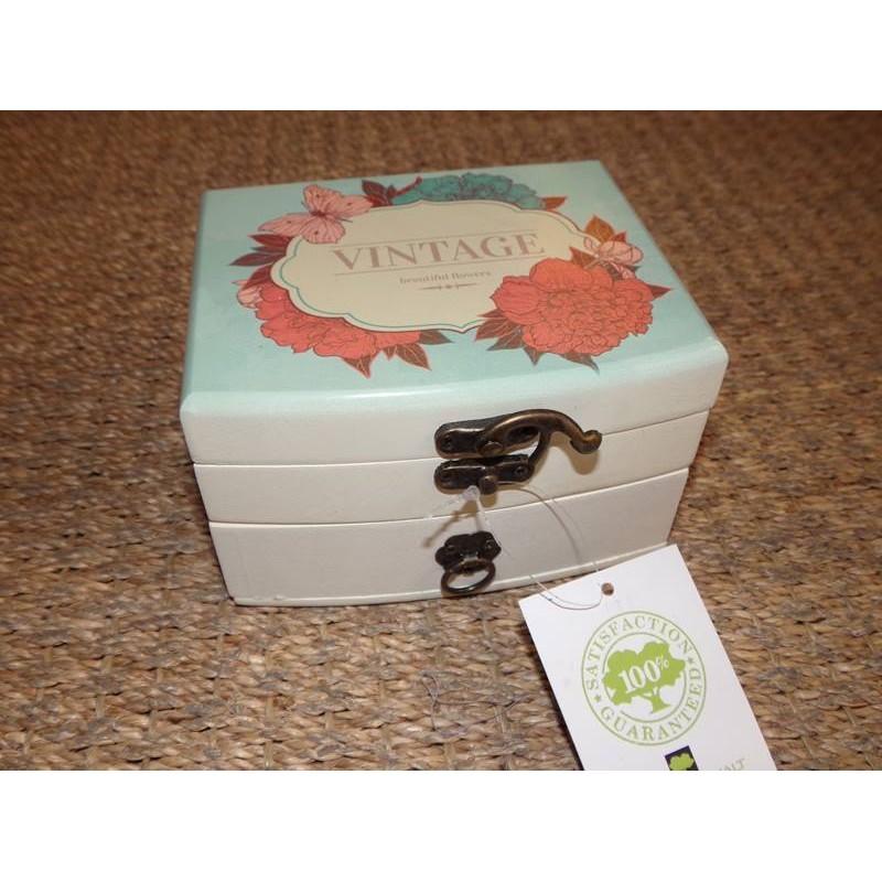 Boite bijoux en bois 1 tiroir d cor papillon vintage for Decoration boite a bijoux
