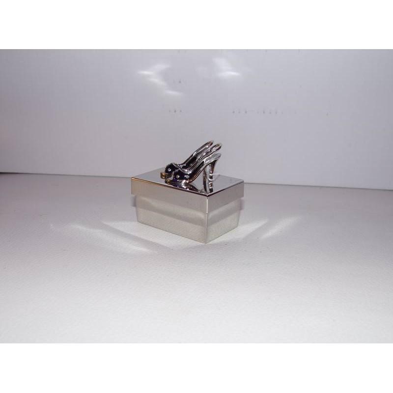 petite boite bijoux m tal chrome escarpins avec strass. Black Bedroom Furniture Sets. Home Design Ideas