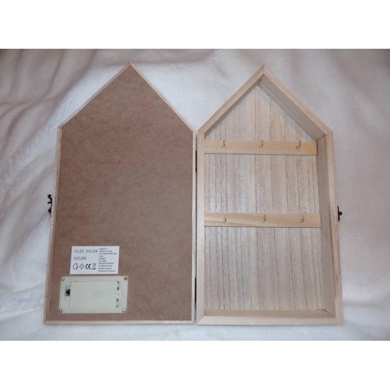 boite clefs grise lumineuse en forme de maison en bois amadeus korb. Black Bedroom Furniture Sets. Home Design Ideas
