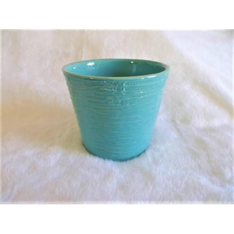 Cache pot turquoise rainuré effet vagues céramique brillante