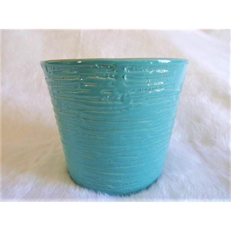 Cache pot turquoise rainur effet vagues c ramique brillante - Cache pot ceramique ...