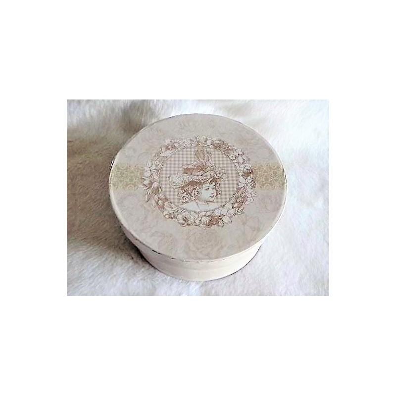 boite ronde style shabby d cor fille chapeau dans m daillon beige mm. Black Bedroom Furniture Sets. Home Design Ideas