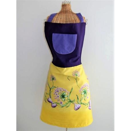 Tablier en tissu jaune et violet d cor ail fait main tablier femme - Tablier de cuisine fait main ...
