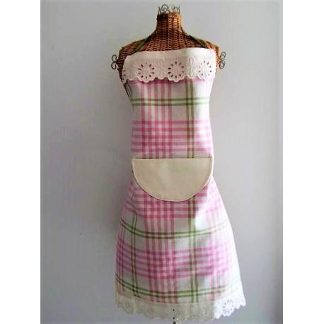 Tablier femme en dentelle et tissu carreaux vert et rose fait main - Tablier de cuisine fait main ...