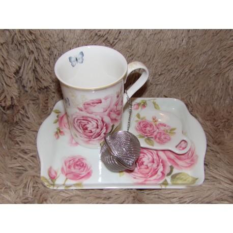 Coffret Le thé porcelaine chinabones modèle Delicates Roses Royal garden