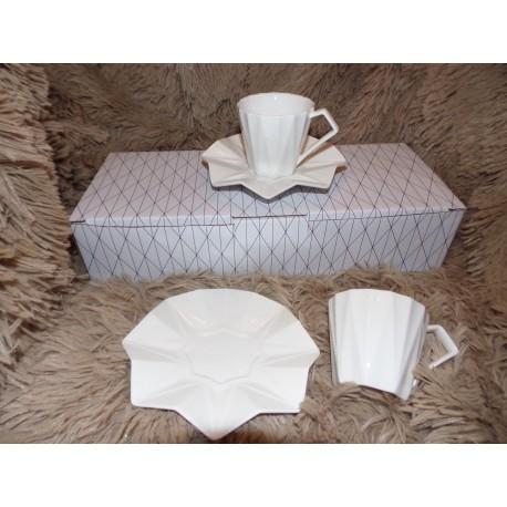 Coffret 6 tasses et sous tasses expressos modèle Diamond Amadeus