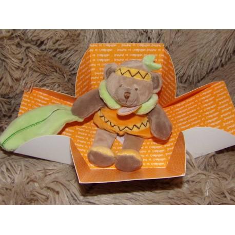 Doudou pantin d'activités ours orange doudou et compagnie DC2573