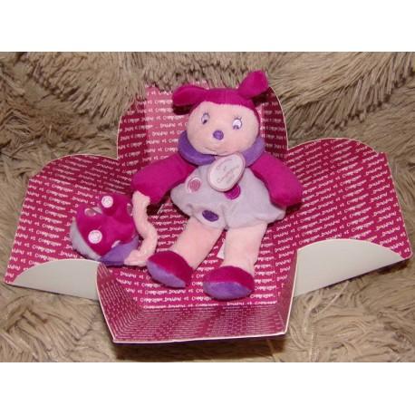 Doudou pantin d'activités coccinelle rose violet doudou et compagnie DC2573