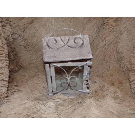 Lanterne photophore métal gris rectangulaire Amadeus