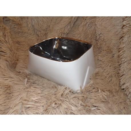 Cache pot moderne blanc intérieur argent chrome amadeus