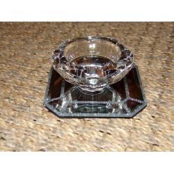 Bougeoir verre ciselé forme de diamant sur support miroir strass Aulica