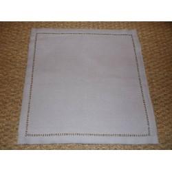 Lot de 6 serviettes infroissables gris clair uni bord ajouré 40x40cm Simla