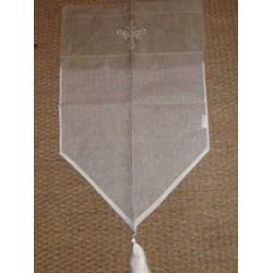 Rideau voilage 45x70cm bicolore écru cantonnière lin brodée pompom KIT2887.20 Simla
