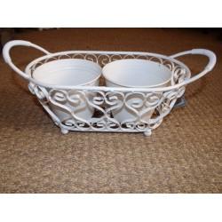 Jardinière 2 caches pots métal blanc amadeus