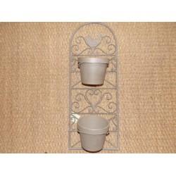 Support métal taupe 1 oiseau pour 2 caches pots Jardin d'ulysse