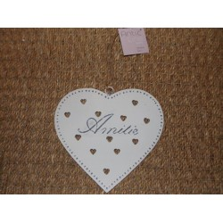 Coeur métal blanc ajouré Amitié Antic line