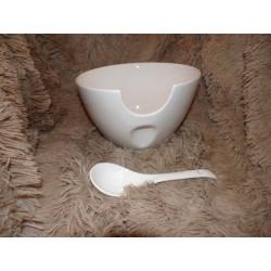 Saladier avec cuillère céramique blanc moderne Amadeus