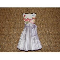 Carnet de notes raffiné forme de robe évasée haut fleurs et bas rayures bleues Royal garden