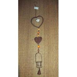 Suspension métal marron forme de coeur décor 1 oiseaux céramique blanc Signes grimalt