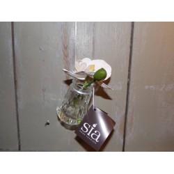 Fleur artificielle orchidée dans petit vase en verre à suspendre Sia
