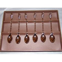 Coffret 6 cuillères moka décor vigne grappe de raisin métal argent Aulica