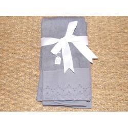 Lot de 3 serviettes d'invité gris dentelle et ruban blanc Simla