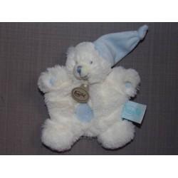 Pantin lapin calin bleu et blanc Babynat BN045