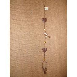 Suspension métal marron 2 coeurs decoupe papillon et 1 oiseau en céramique blanc Signes grimalt