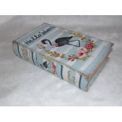 Boite en forme de livre en bois décor flamant n° 257 GM