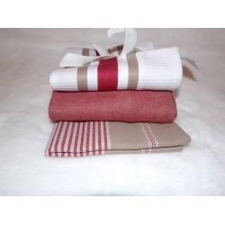 Lot de 3 torchons blanc rouge et marron en coton Simla