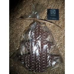 Bougie en forme de sapin aspect laine cuivre Broste