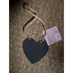 Coeur ardoise mémo avec corde à suspendre Antic line