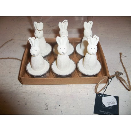 Coffret 6 bougies en forme de lapin décorations pâques