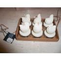 Coffret 6 bougies en forme de poule décorations pâques