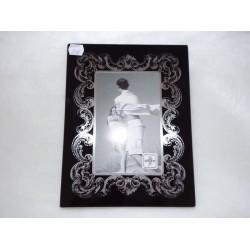 Cadre photo 10x15cm style baroque noir arabesques argent Inov