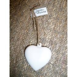 Coeur en céramique blanc à suspendre Jardin d'ulysse