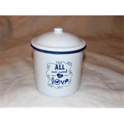 Boite métal /pot en émail blanc et bleu Love pm Signes grimalt