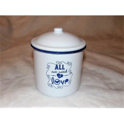 Boite métal /pot en émail blanc et bleu Love mm Signes grimalt