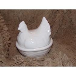 Sel et poivre en forme de poule céramique blanc brillant Amadeus