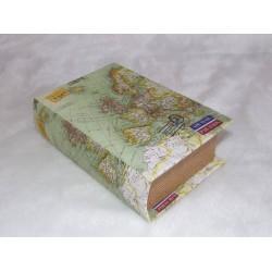 Boite en forme de livre en bois décor mappemonde fond vert
