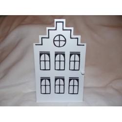 Boite à clefs noir et blanc en forme de maison en bois Amadeus