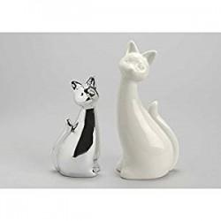 Set 2 chats argent chrome et blanc modèle Filou Amadeus