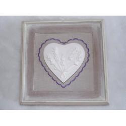 Tableau cadre en bois naturel toile lin coeur en platre décor lavande Jline