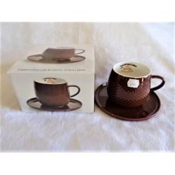 Déjeuner en porcelaine marron décor points en relief modèle cappuccino Jd diffusion