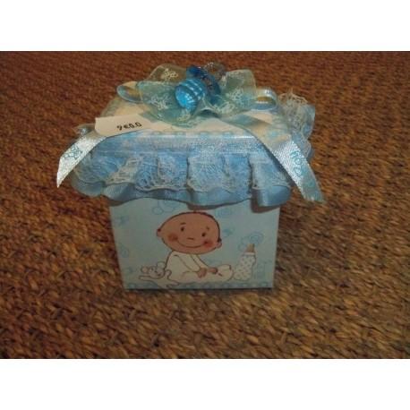 Boîte à musique bleue décor bébé et tétine sur le couvercle