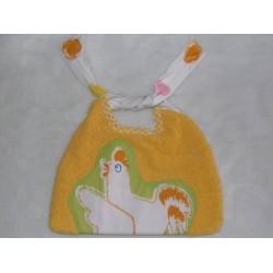 Bavoir éponge orange vert décor poule fait main