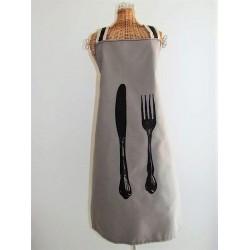 Tablier en tissu taupe mixte décor couverts fait main.