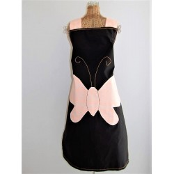 Tablier en tissu noir décor papillon orange fait main.