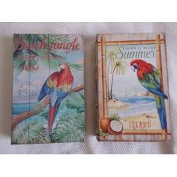 Boite en forme de livre en bois décor perroquet modèle aléatoire