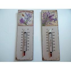 Thermomètre métal décor provençal lavande